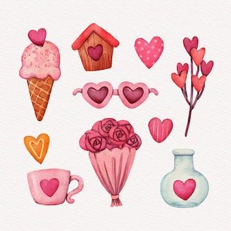 Aquarel valentijnsdag elementen