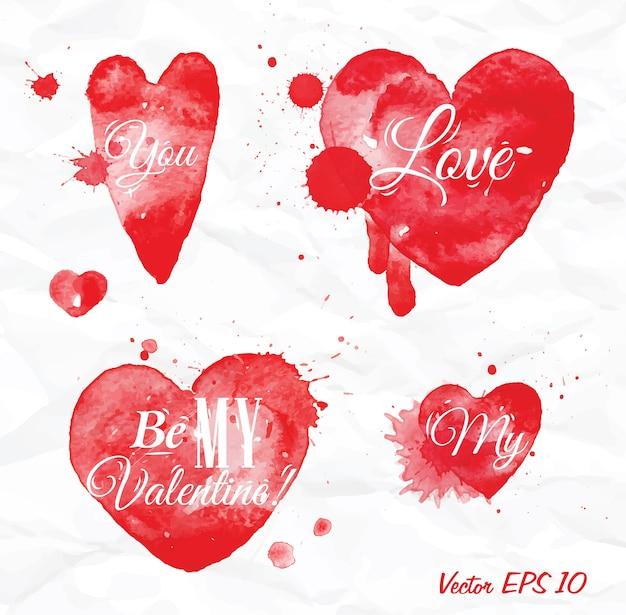 Aquarel valentijnsdag hart