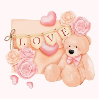 Aquarel valentijnsdag kaart met beer en liefdesbrief