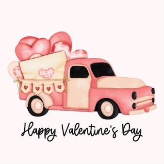 Aquarel valentijnsdag kaart met liefdesbrief en valentijnsdag vrachtwagen