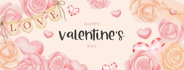 Aquarel valentijnsdag kaart met rozen en partij vlag