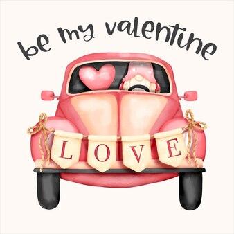 Aquarel valentijnsdag kabouter met volkswagen kever