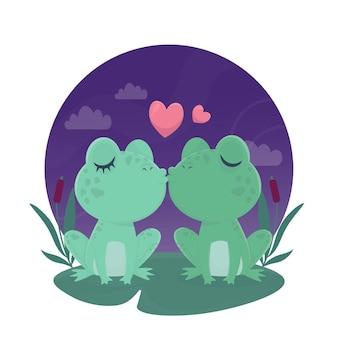 Aquarel valentijnsdag kikkers verliefd
