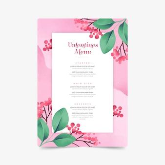 Aquarel valentijnsdag menu