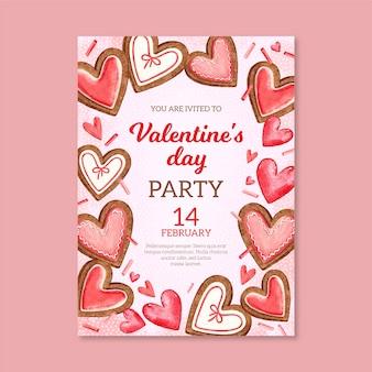 Aquarel valentijnsdag partij flyer