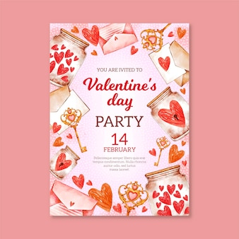 Aquarel valentijnsdag partij folder sjabloon