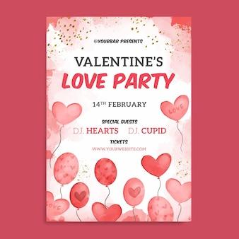 Aquarel valentijnsdag partij poster sjabloon