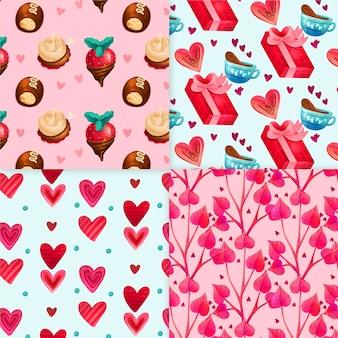Aquarel valentijnsdag patronen