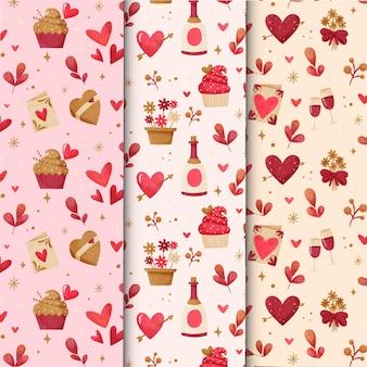 Aquarel valentijnsdag patroon ingesteld