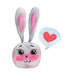 Aquarel valentijnsdag schattig konijntje
