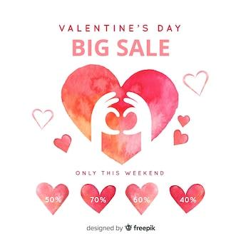 Aquarel valentijnsdag verkoop achtergrond
