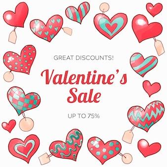 Aquarel valentijnsdag verkoop concept