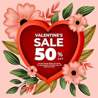 Aquarel valentijnsdag verkoop