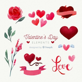 Aquarel valentijnselementen pack
