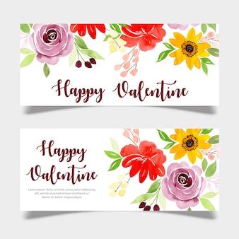 Aquarel valentine banner sjabloon