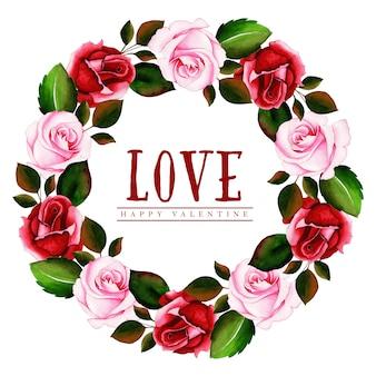 Aquarel valentine bloemen krans