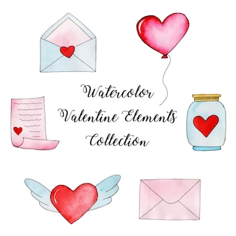 Aquarel valentine elementen collectie