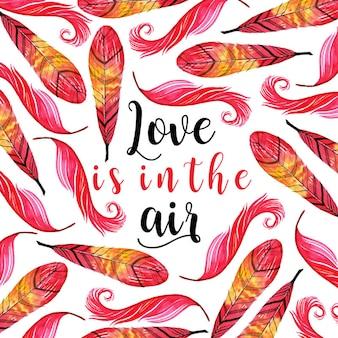 Aquarel valentine feather achtergrond