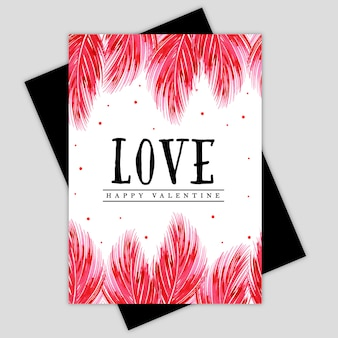 Aquarel valentine floral greeting card