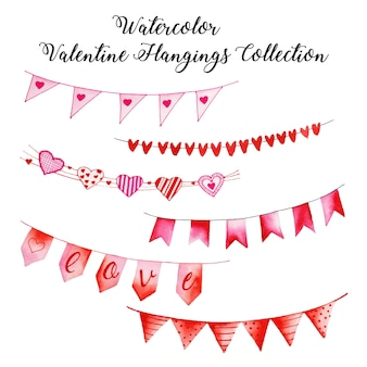 Aquarel valentine opknoping collectie