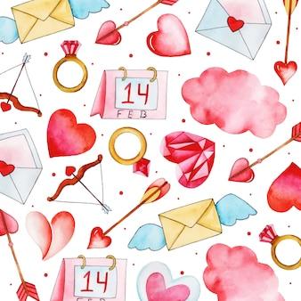 Aquarel valentine patroon achtergrond