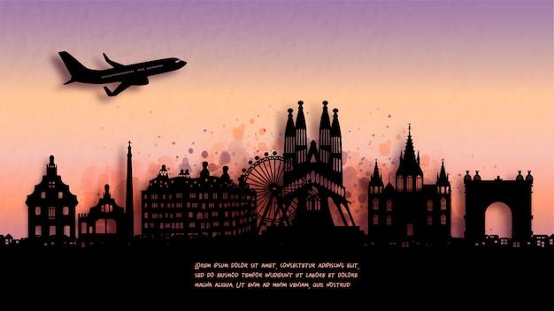 Aquarel van barcelona, spanje silhouet skyline en beroemde bezienswaardigheid.