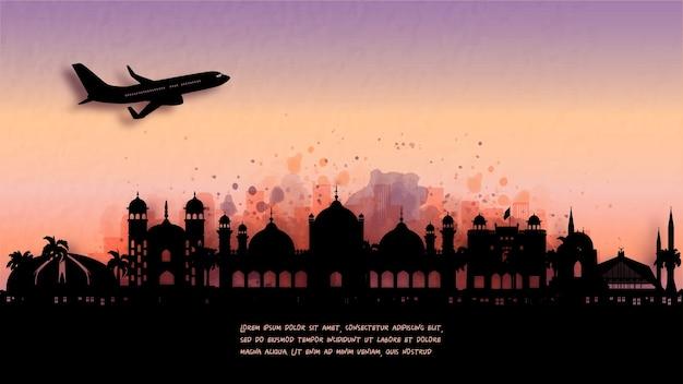 Aquarel van islamabad, pakistan silhouet skyline en beroemde bezienswaardigheid. illustratie.