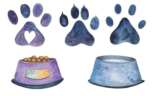 Aquarel vector huisdier kom en dierensporen stap set