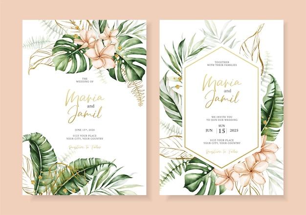 Aquarel vector set bruiloft uitnodiging kaartsjabloon ontwerp met tropische bladeren decoratie