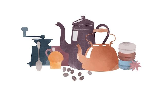 Aquarel vectorillustratie van koffie en elementen