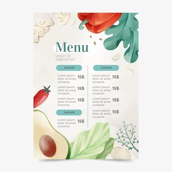 Aquarel vegetarisch en veganistisch menu
