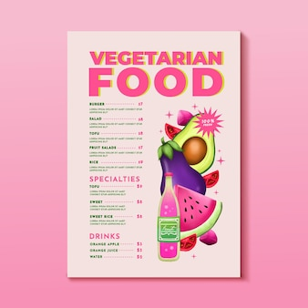Aquarel vegetarisch menu-ontwerp