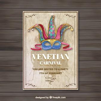 Aquarel venetiaans masker poster