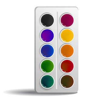 Aquarel verf realistische afbeelding. Kunst, gereedschap, kleurstof. School aanbod concept.
