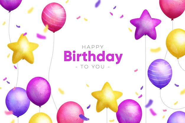 Aquarel verjaardag behang met ballonnen
