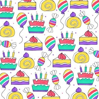 Aquarel verjaardag patroon achtergrond