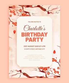 Aquarel verjaardag uitnodiging sjabloon