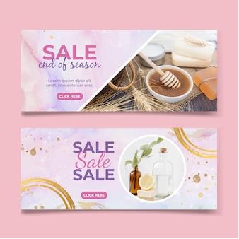 Aquarel verkoop banner set