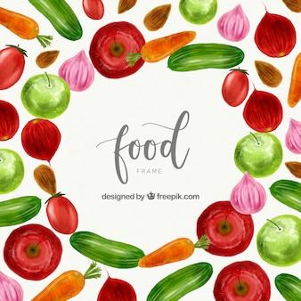 Aquarel verse groenten frame