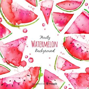 Aquarel verse watermeloen achtergrond