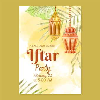 Aquarel verticale iftar uitnodigingssjabloon
