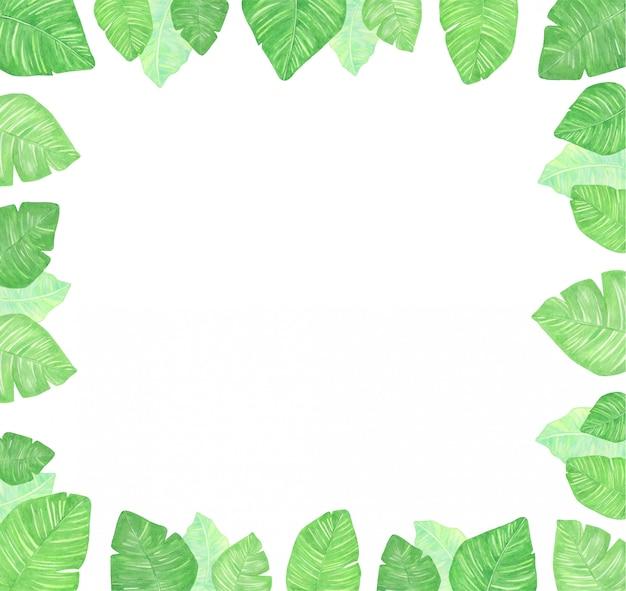Aquarel vierkant frame van tropische bladeren. een achtergrond voor uitnodigingen, reclame, ansichtkaarten.