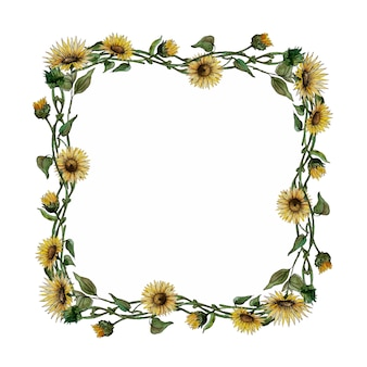 Aquarel vierkante frame met zonnebloemen
