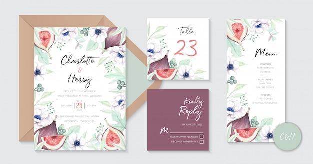Aquarel vijgen en bloemen bruiloft uitnodiging sjabloon Premium Vector