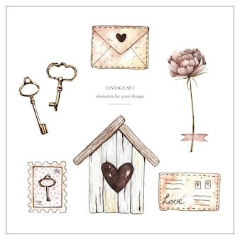 Aquarel vintage set met birdhouse, stempels, brieven, pioen en sleutels.
