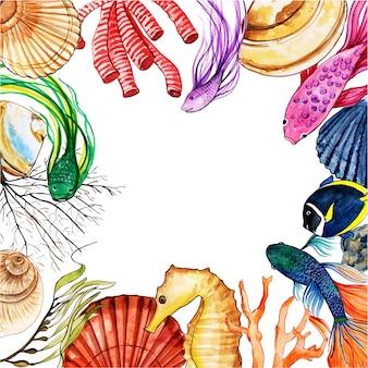 Aquarel vis en onderwater frame