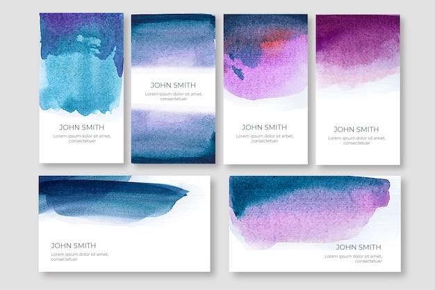 Aquarel visitekaartje sjabloon set