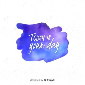 Aquarel vlek met positief bericht