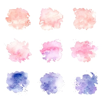 Aquarel vlek pastel kleurenset stain