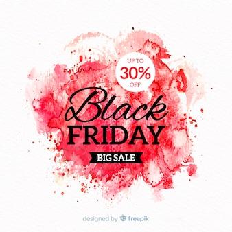 Aquarel vlek zwart vrijdag banner rood